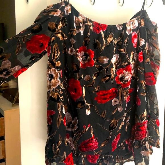 Off the shoulder suede blouse
